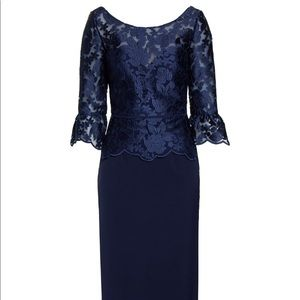 HPJS COLLECTIONS embroidered mesh peplum gown